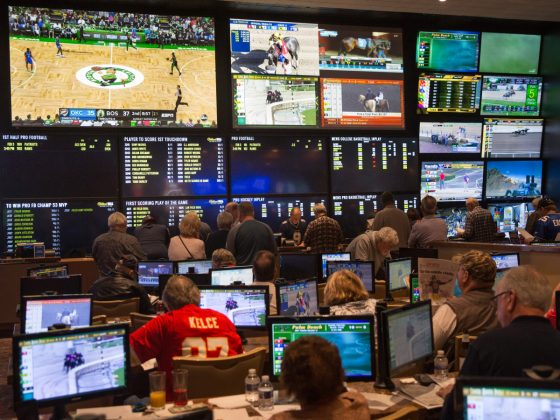 LAUGHLIN, NV - FEBRUARY 3:  The sports book room at the Aquarius Hotel & Casino is viewed on February 3, 2019 in Laughlin, Nevada. Located on the Colorado River 90 miles south of Las Vegas, this unincorporated Clark County town is known for it gambling, entertainment, and water sports. (Photo by George Rose/Getty Images)